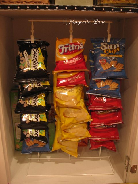Use a chip rack to organize small bags of chips in your kitchen or pantry