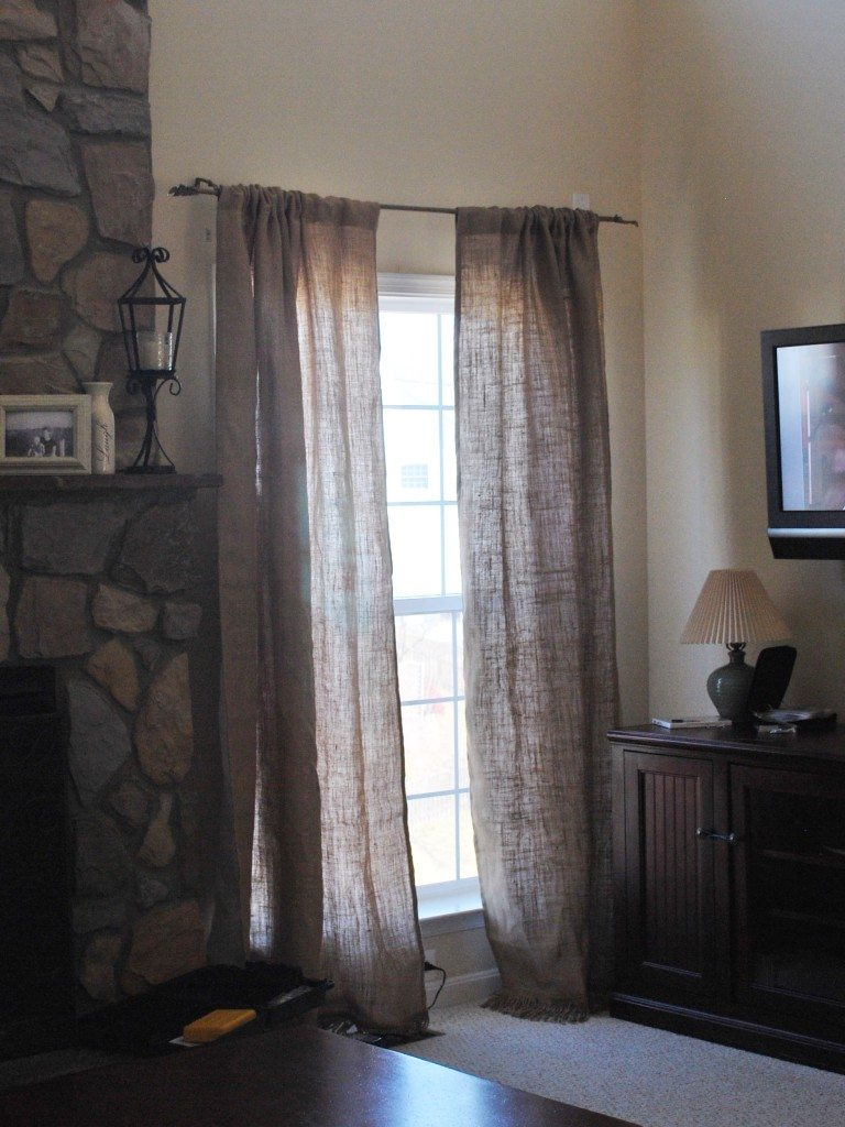 Ballard Designs burlap curtain panels