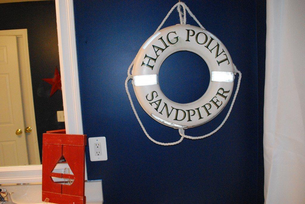 Boys red white blue nautical bathroom