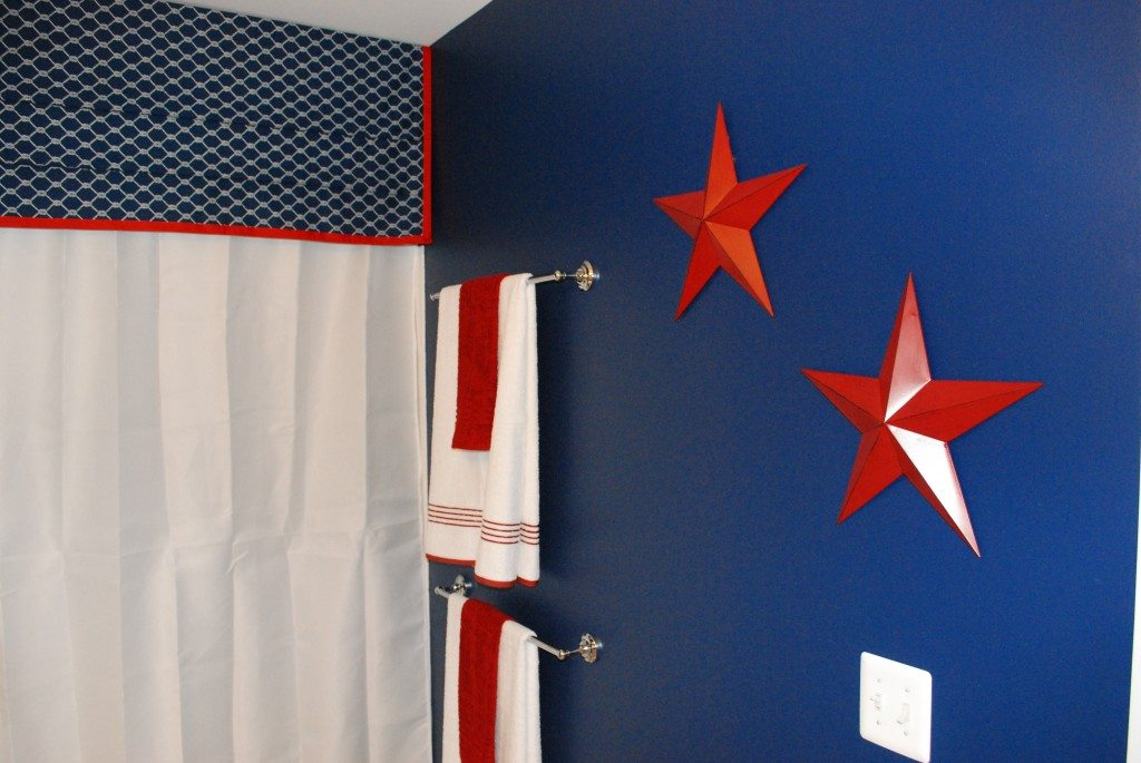 Boys bathroom with a nautical theme 11 magnolia lane for Red white and blue bathroom accessories