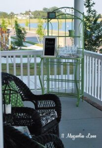 Baker's rack spray painted with a bright color and used as a bar during a party!