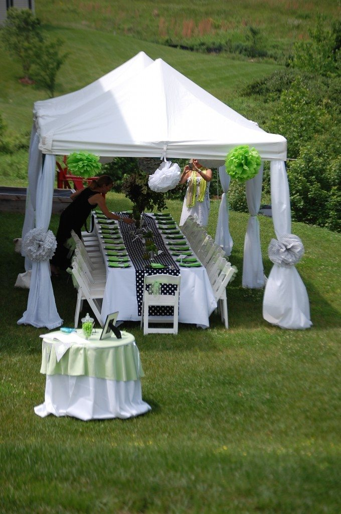 Baby shower in lime black and white 11 magnolia lane for Backyard baby shower decoration