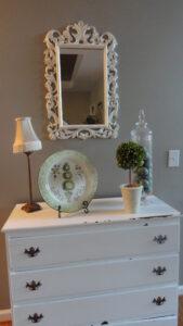 thrift store mirror painted white