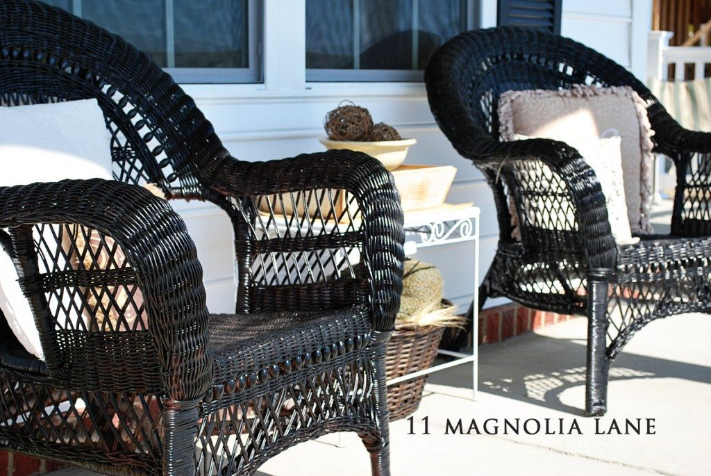 wicker chairs on porch