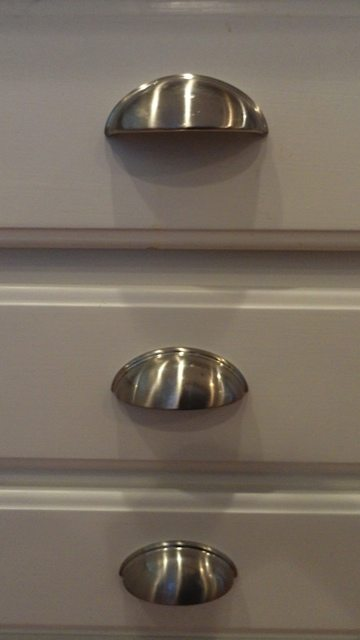 Brushed nickel bin drawer pulls