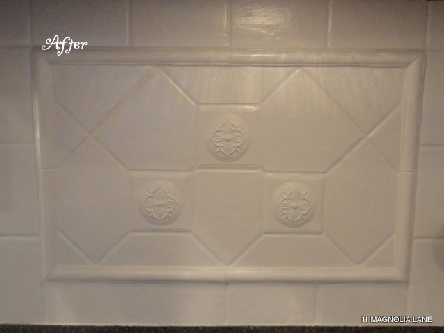 painted tile backsplash