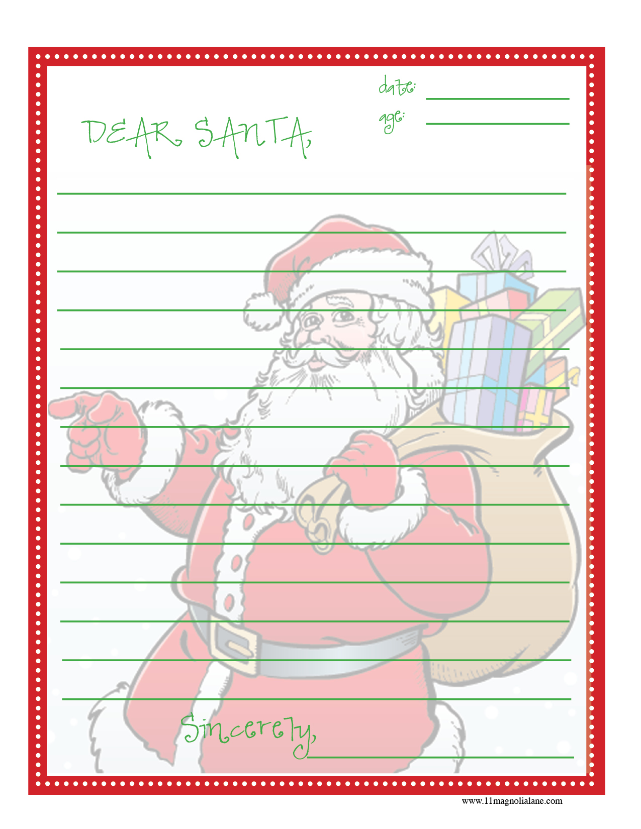 Dear Santa Letter  Christmas List Template For Kids