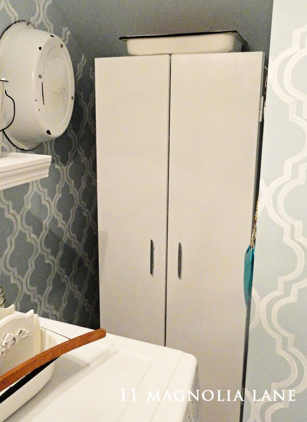 Vintage metal cabinet for laundry room