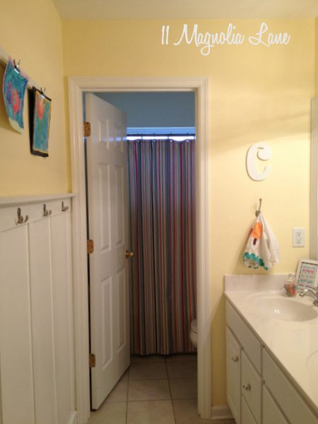 Board and Batten Wall Treatment in the Kids' Bathroom