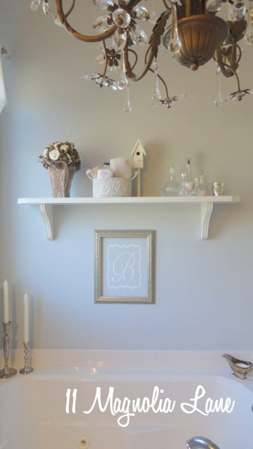 bathroom chandelier shelf