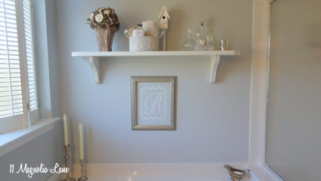bathroom shelves over tub