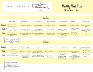 In the Kitchen with 11 Magnolia Lane; Winter Meal Planning Calendar and Shopping Lists for Weeks 3 & 4