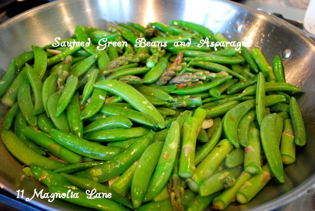 Sauteed sugar snap peas and asparagus
