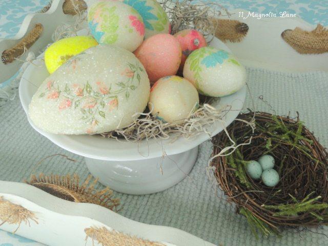vintage decoupaged Easter eggs