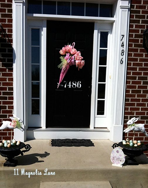 Door with spring Easter decor umbrella