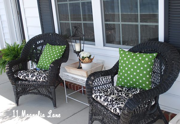 Spring front porch green, black, white, damask and polka dots