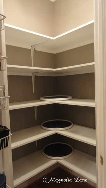 Corner Pantry Redo With Solid Shelving From 11 Magnolia