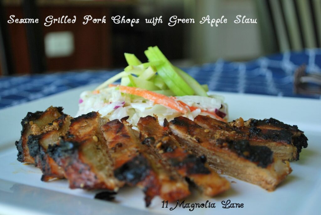 Sesame Grilled Pork Chops with Green Apple Slaw