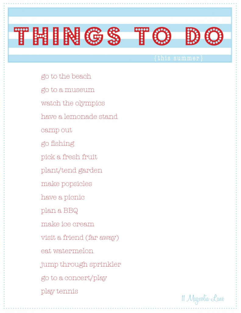 Free Summer Printables--Things to Do, Party Planner | 11
