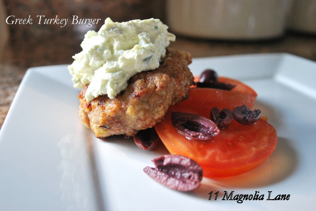 Greek Turkey Burger with Feta and Pepperoncini Cream Cheese Topping