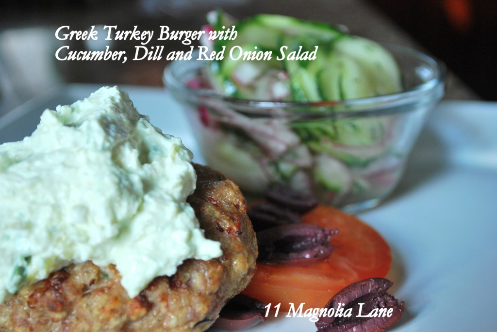 Greek Turkey Burger and Cucumber, Dill and Red Onion Salad