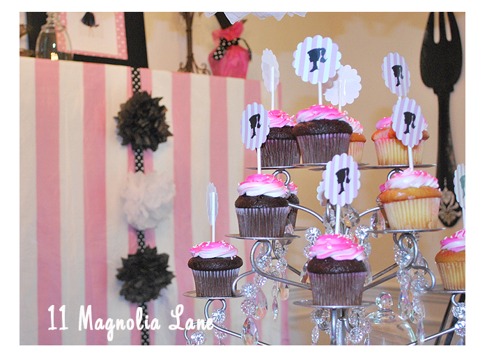 Black, white, and pink Barbie birthday party