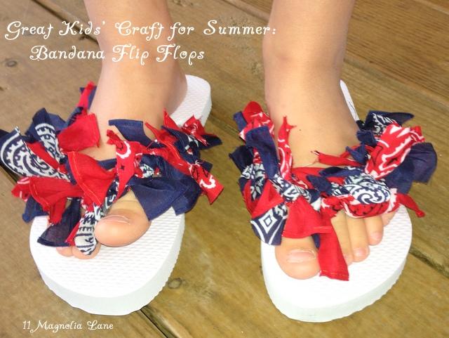 Bandana flip flops--easy project for kids