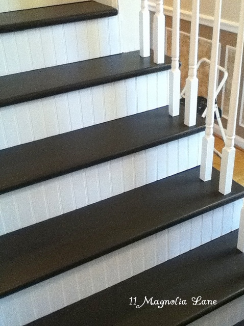 Stair Redo With Painted Treads And Beadboard Risers 11