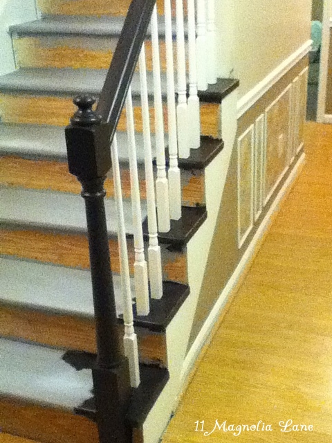 Painted The Banister With This Lovely Dark Brown Paint From Home Depot: