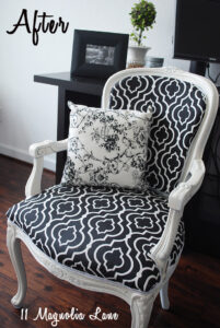 black white reupholstered chair