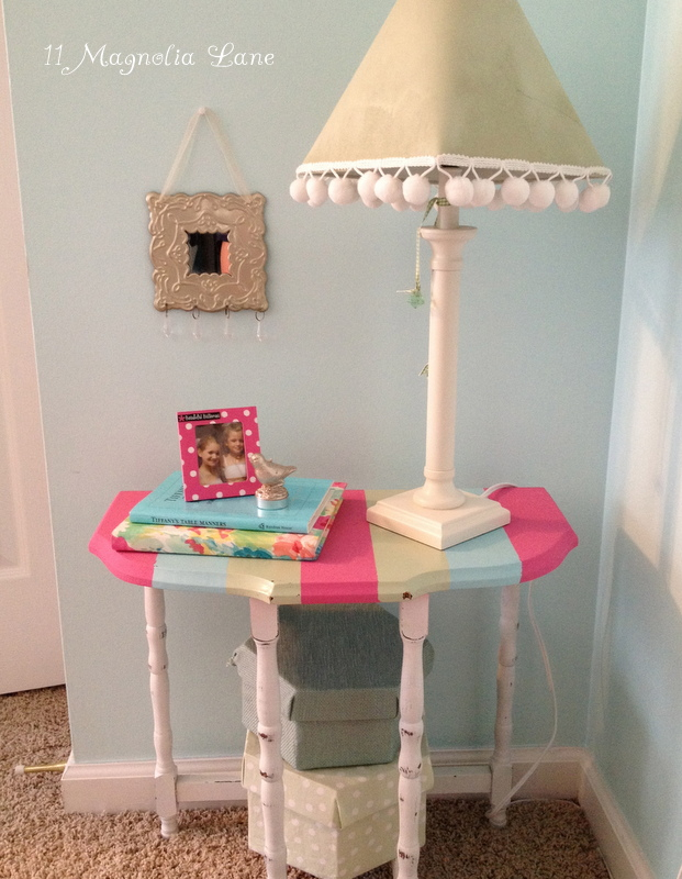 Carnival-Striped Side Table for My Big (Little) Girl's Room