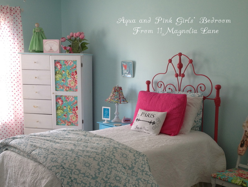 Girls Bedroom w/ Aqua Blue, Pink, Green, with Paris accents | 11 ...