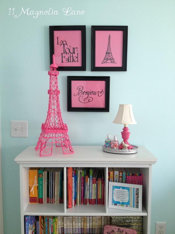Girls Bedroom W Aqua Blue Pink Green With Paris