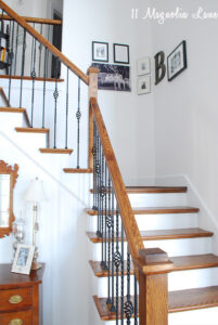 gallery wall over stairway