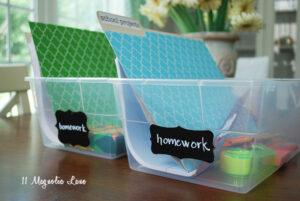 An Organization Epiphany {Homework Boxes}