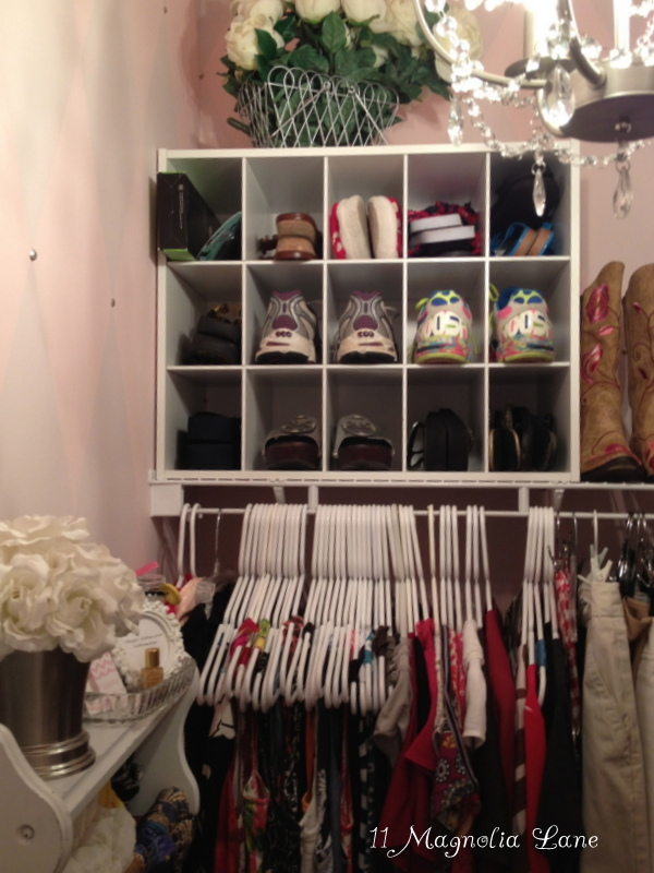 Pink and silver closet makeover
