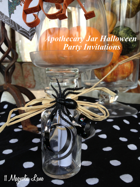 Halloween Party Invitations in Repurposed Apothecary-Style Spice Jars
