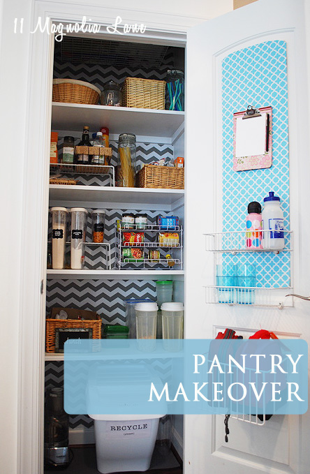 Organized pantry with chevron and quatrefoil shelf paper