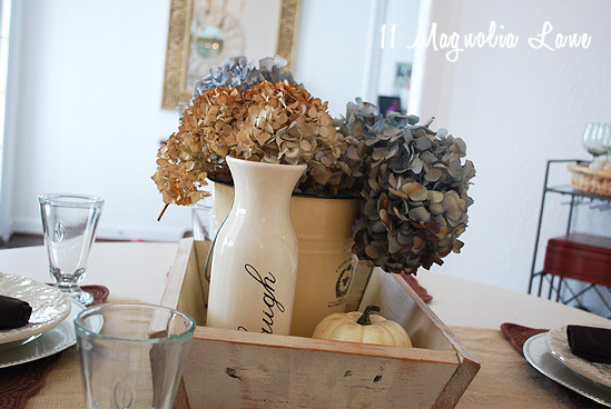 Fall decor dried hydrangeas