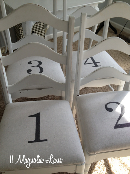 Numbered chair cover seat cushions