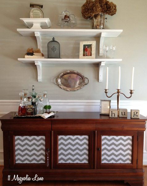 Progress In My Dining Room  Open Shelving And Chevrons | 11 Magnolia Lane