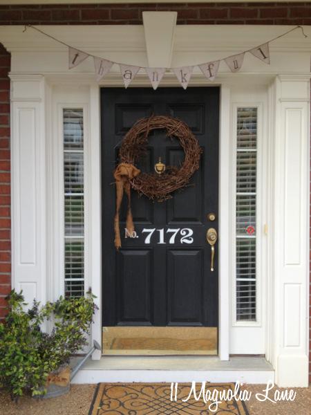 Thanksgiving front door at 11 Magnolia Lane.