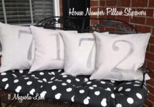 House Number Canvas Pillow Slipcover Tutorial Using the Citrasolv Fabric Transfer Technique