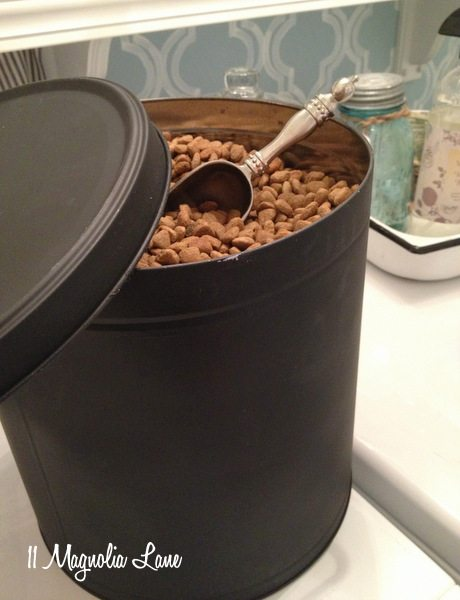 Chalkboard Paint Pet Food Canister From Repurposed Popcorn