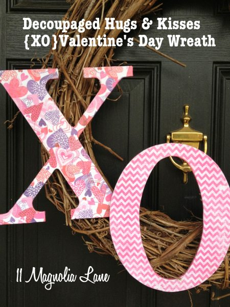 Decoupaged Hug and Kiss {XO} Wreath for Valentine's Day