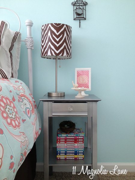 Metallic silver nightstand by 11 Magnolia Lane