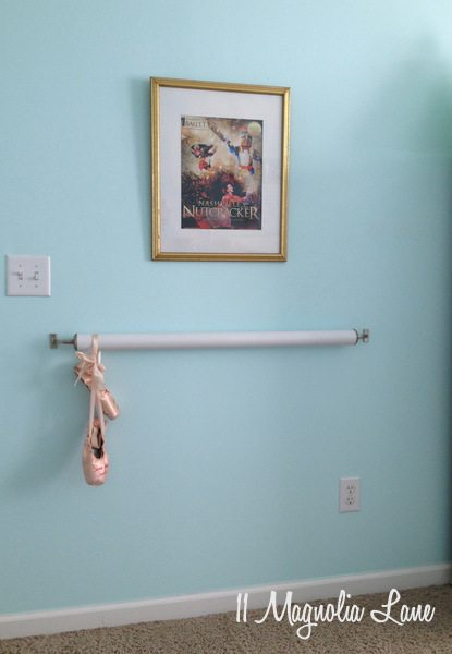 DIY ballet barre for little girls' bedroom at 11 Magnolia Lane