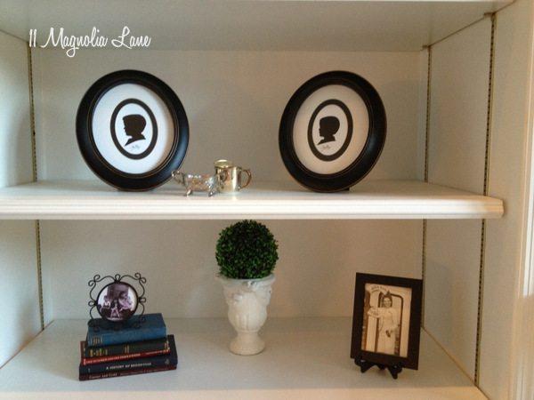 Bookshelf styling at 11 Magnolia Lane