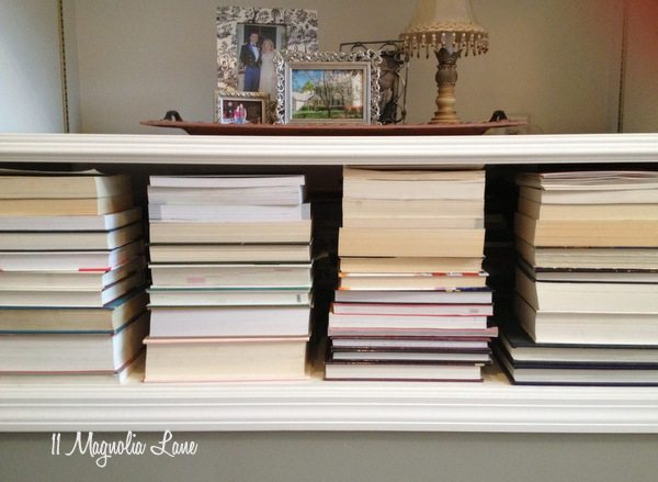 Stack books horizontally and pages out