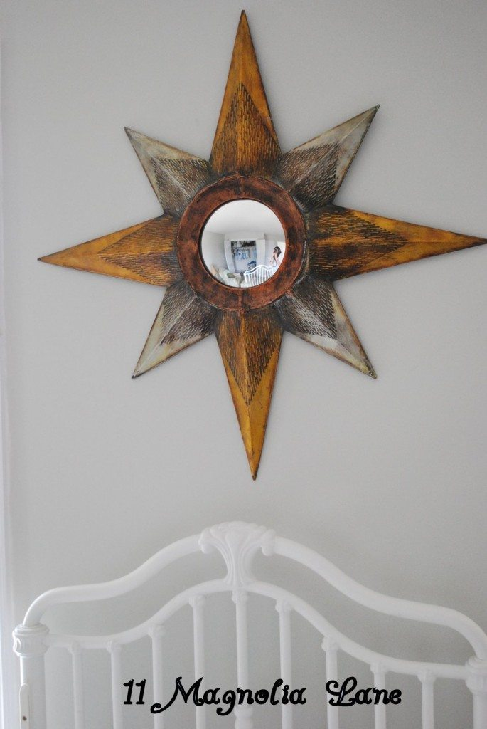 This mirror was a steal and I love the star shape as well as the silver and gold.  It is perfectly set above the crib.